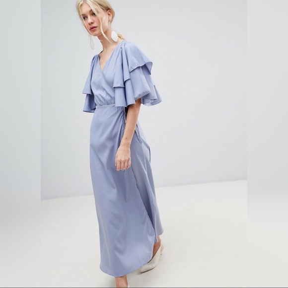 ASOS blue ruffle sleeve maxi dress